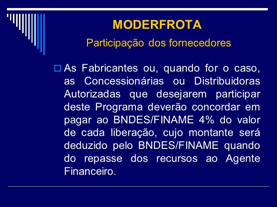 MODERFROTA Participação dos fornecedores