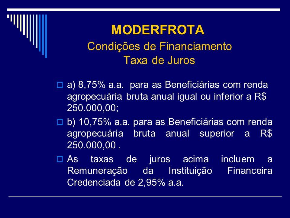 MODERFROTA Condições de Financiamento Taxa de Juros