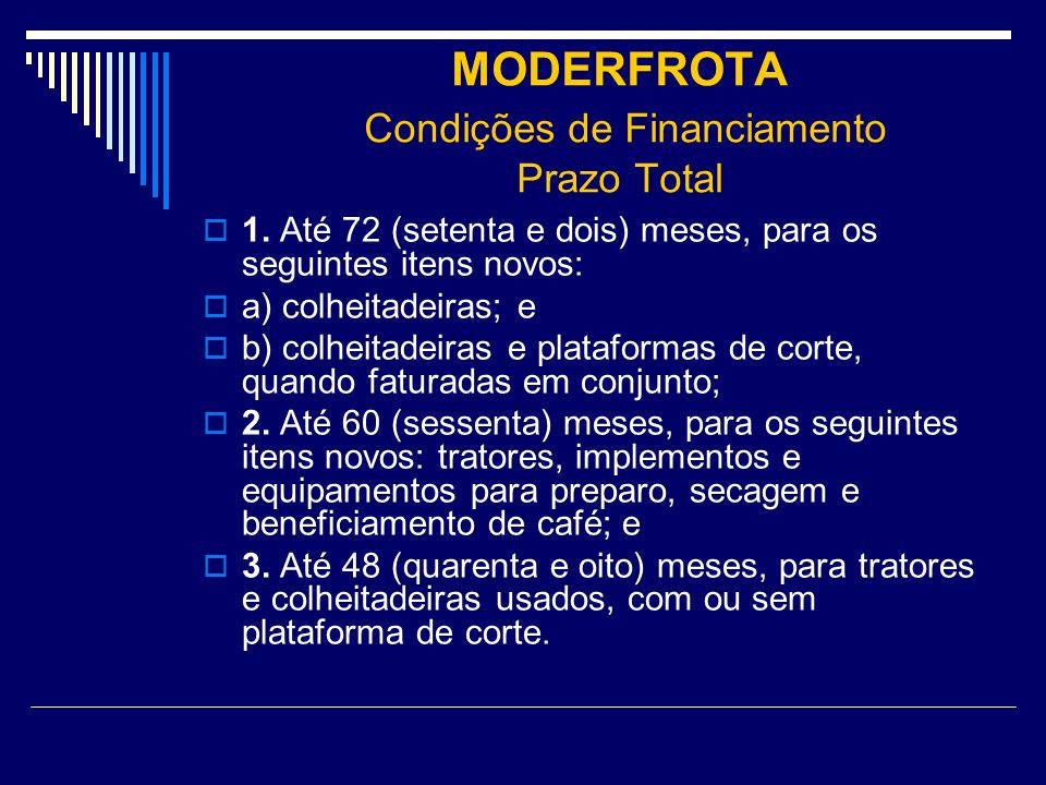 MODERFROTA Condições de Financiamento Prazo Total