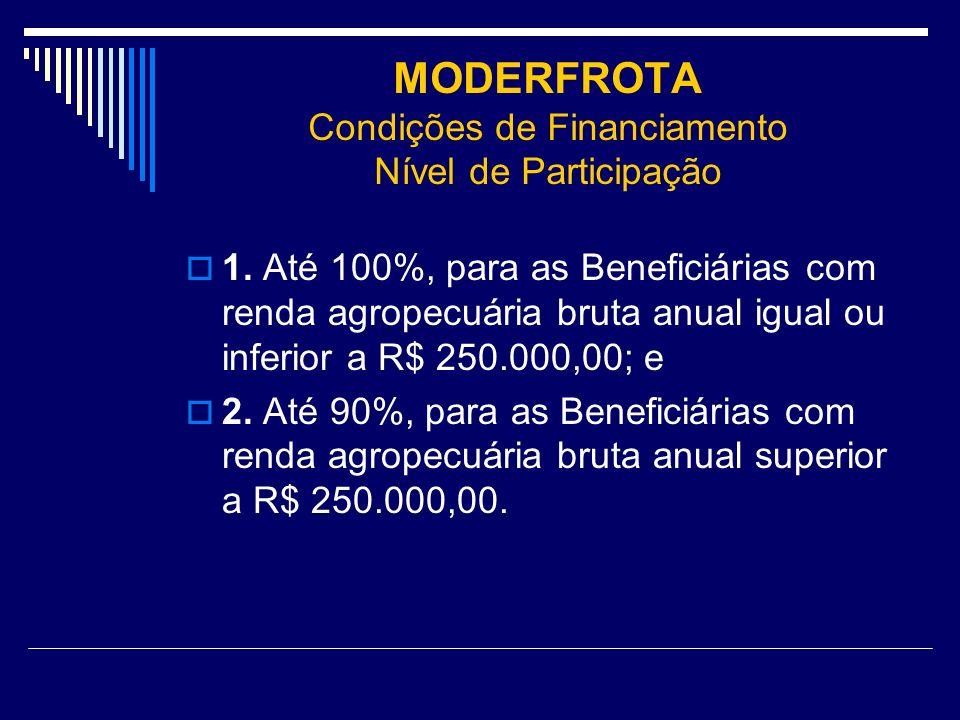 MODERFROTA Condições de Financiamento Nível de Participação