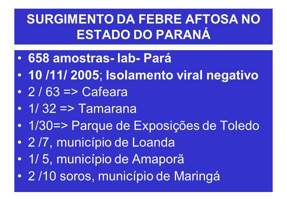 SURGIMENTO DA FEBRE AFTOSA NO ESTADO DO PARANÁ