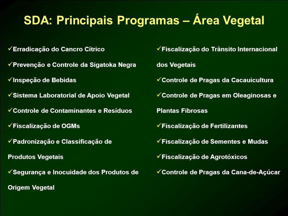 SDA: Principais Programas – Área Vegetal
