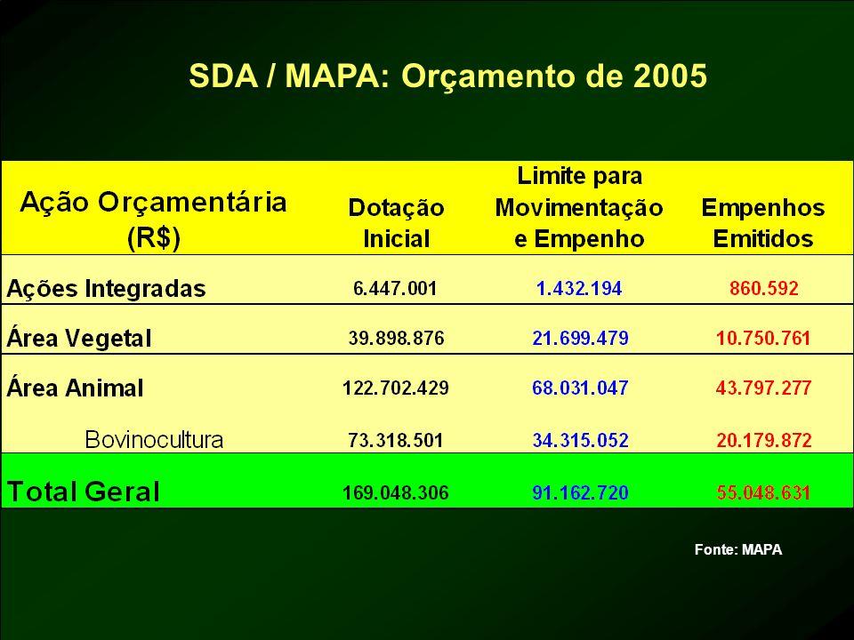 SDA / MAPA: Orçamento de 2005