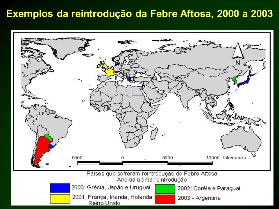 Exemplos da reintrodução da Febre Aftosa, 2000 a 2003