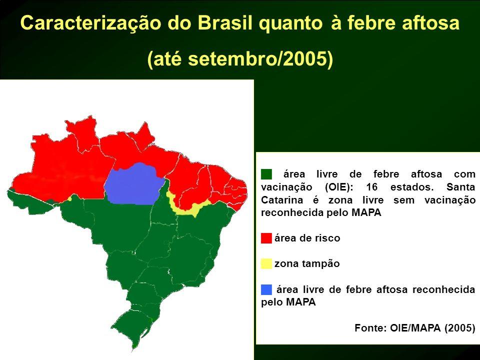 Caracterização do Brasil quanto à febre aftosa (até setembro/2005)