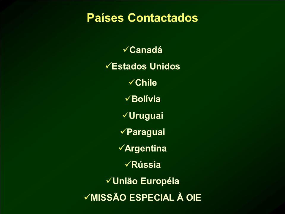Países Contactados Canadá Estados Unidos Chile Bolívia Uruguai