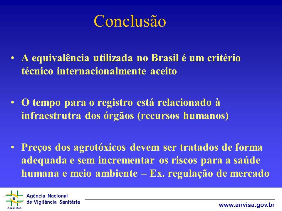 Conclusão A equivalência utilizada no Brasil é um critério técnico internacionalmente aceito.
