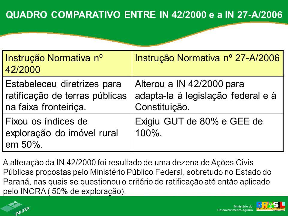 QUADRO COMPARATIVO ENTRE IN 42/2000 e a IN 27-A/2006