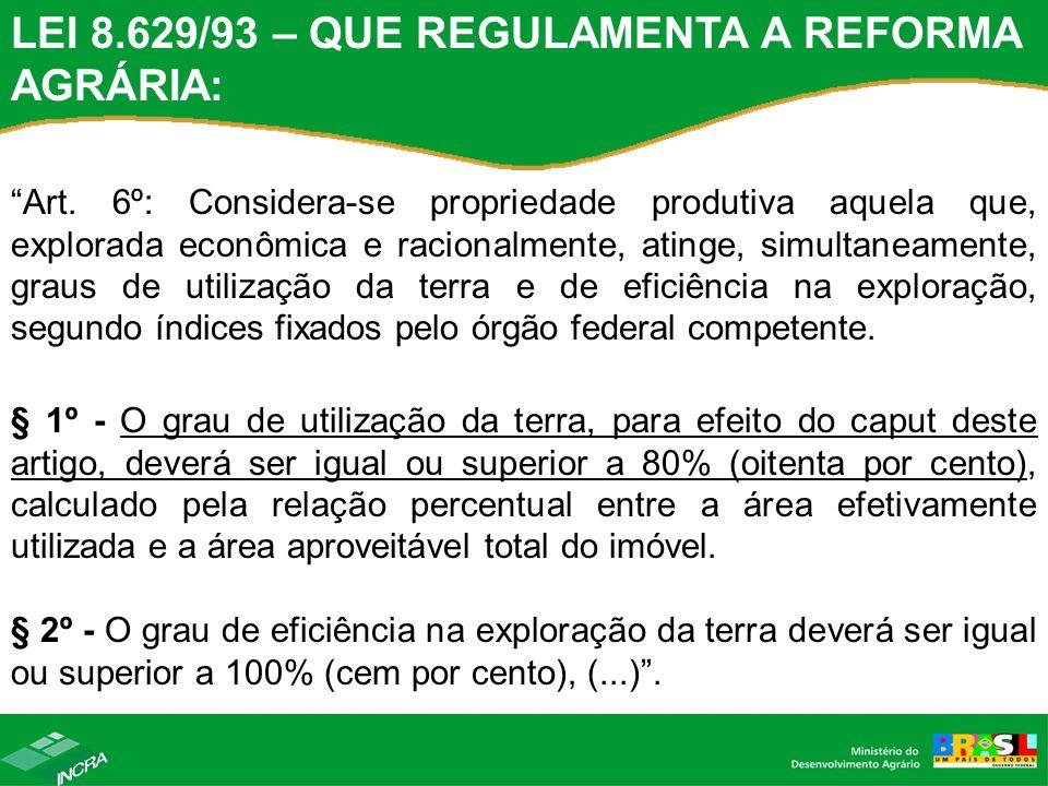 LEI 8.629/93 – QUE REGULAMENTA A REFORMA AGRÁRIA: