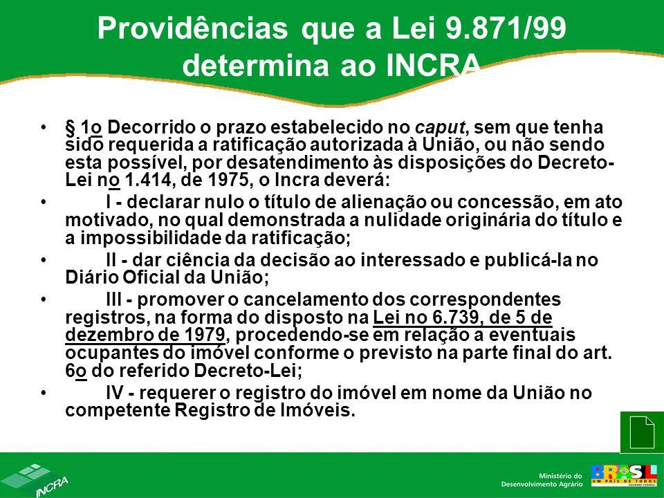 Providências que a Lei 9.871/99 determina ao INCRA