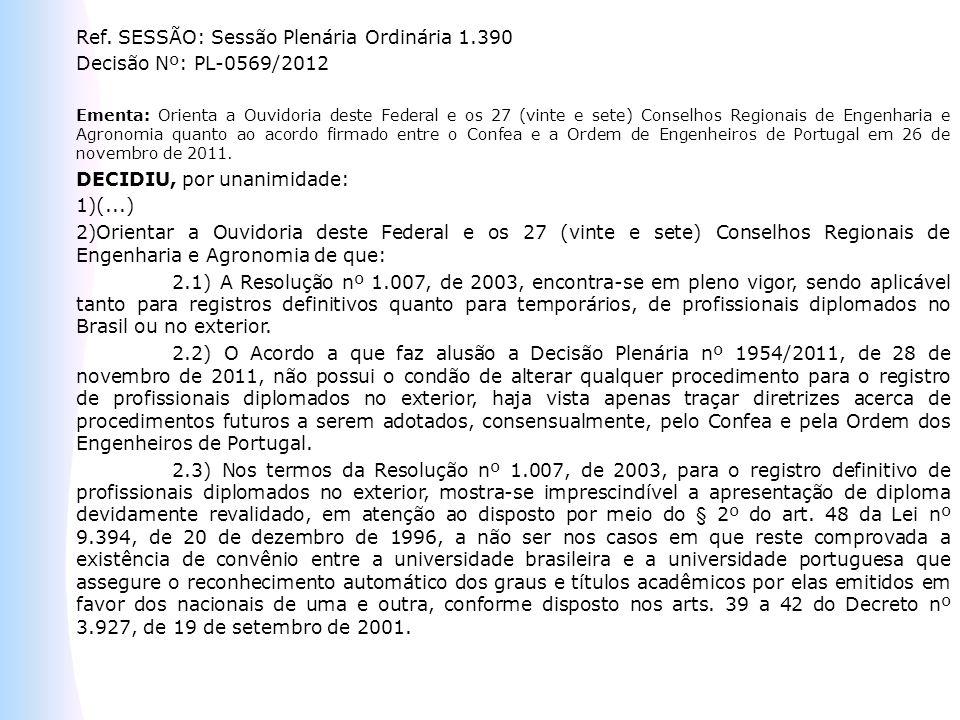 Ref. SESSÃO: Sessão Plenária Ordinária 1.390 Decisão Nº: PL-0569/2012