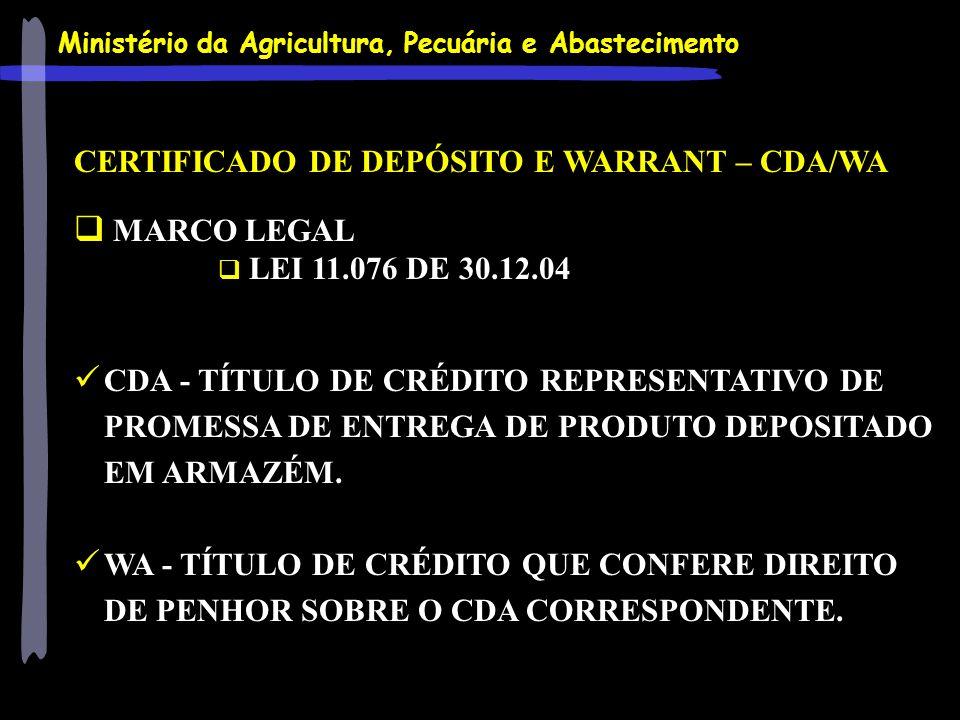 CERTIFICADO DE DEPÓSITO E WARRANT – CDA/WA