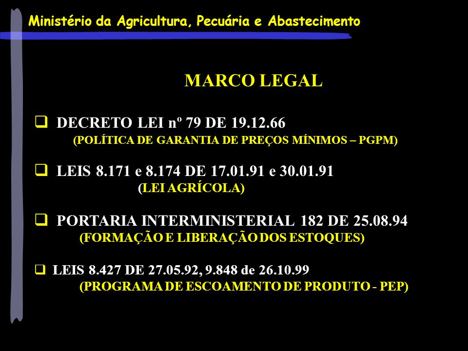 MARCO LEGAL DECRETO LEI nº 79 DE 19.12.66