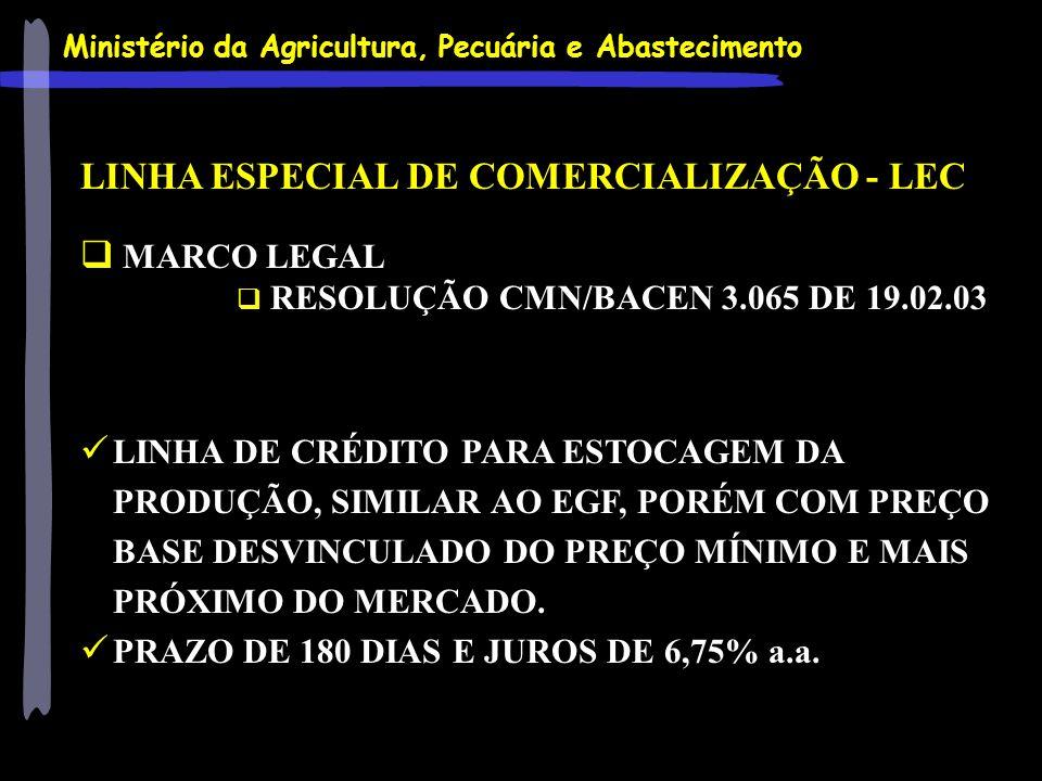 LINHA ESPECIAL DE COMERCIALIZAÇÃO - LEC