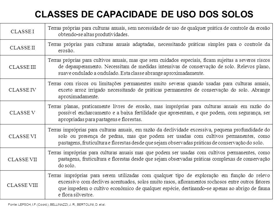 CLASSES DE CAPACIDADE DE USO DOS SOLOS