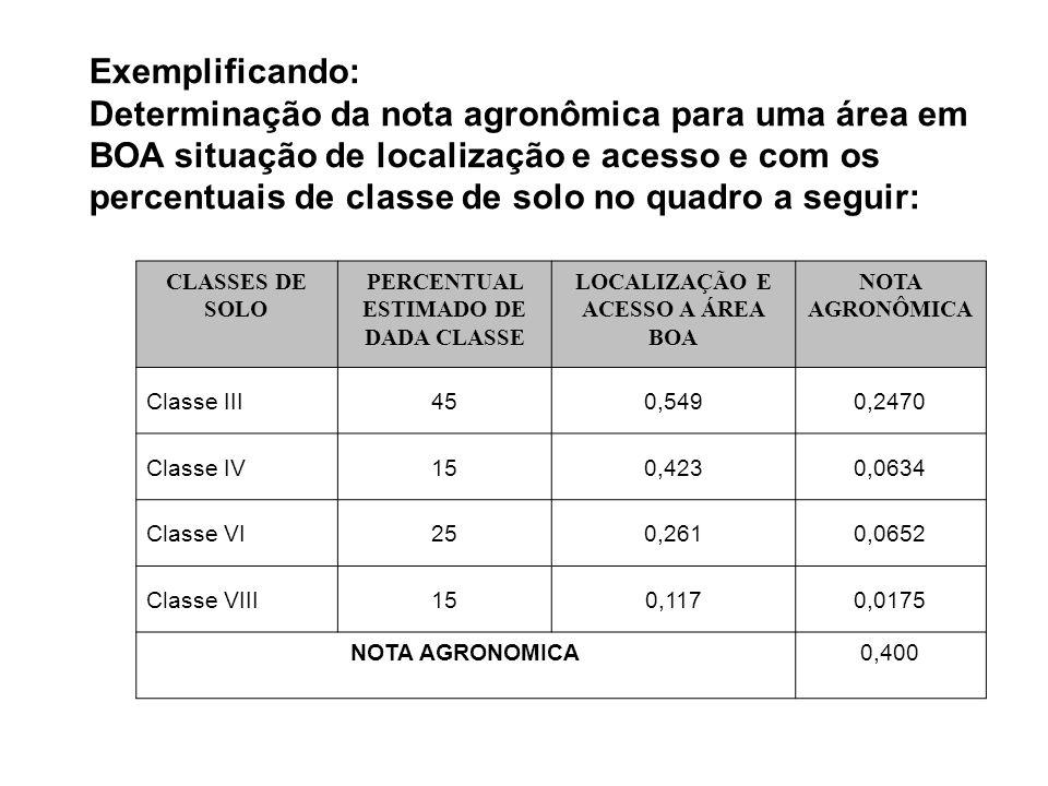 PERCENTUAL ESTIMADO DE DADA CLASSE LOCALIZAÇÃO E ACESSO A ÁREA