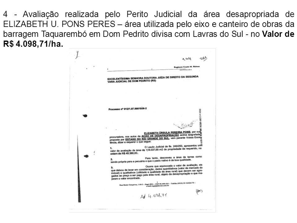 4 - Avaliação realizada pelo Perito Judicial da área desapropriada de ELIZABETH U.