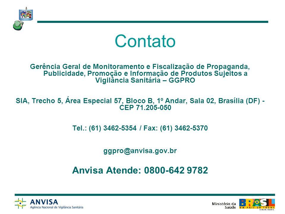 Contato Anvisa Atende: 0800-642 9782