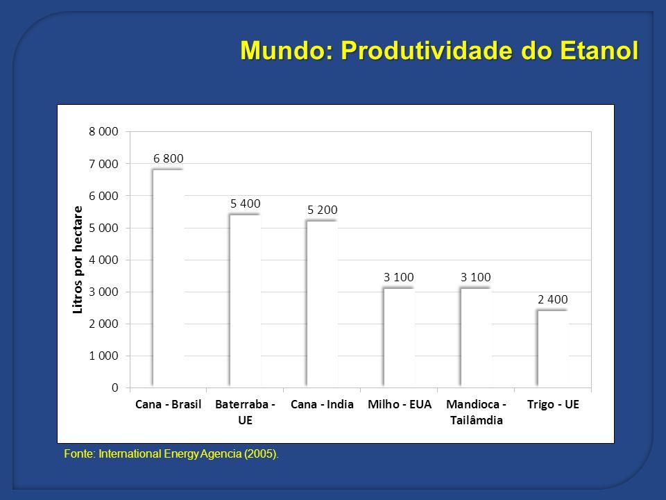 Mundo: Produtividade do Etanol
