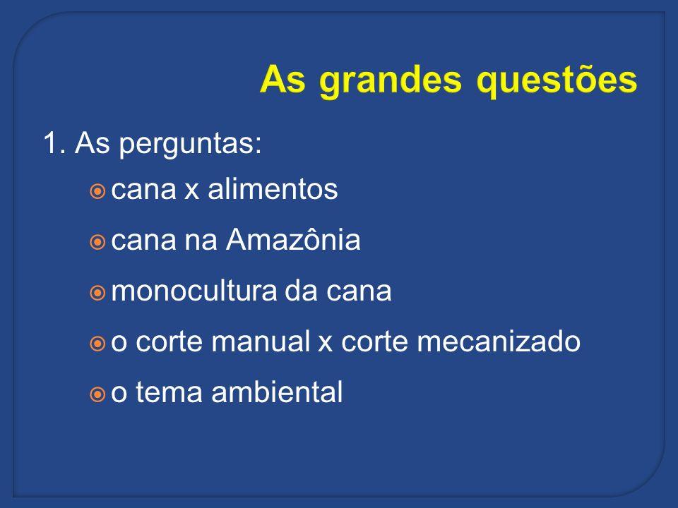 As grandes questões 1. As perguntas: cana x alimentos cana na Amazônia