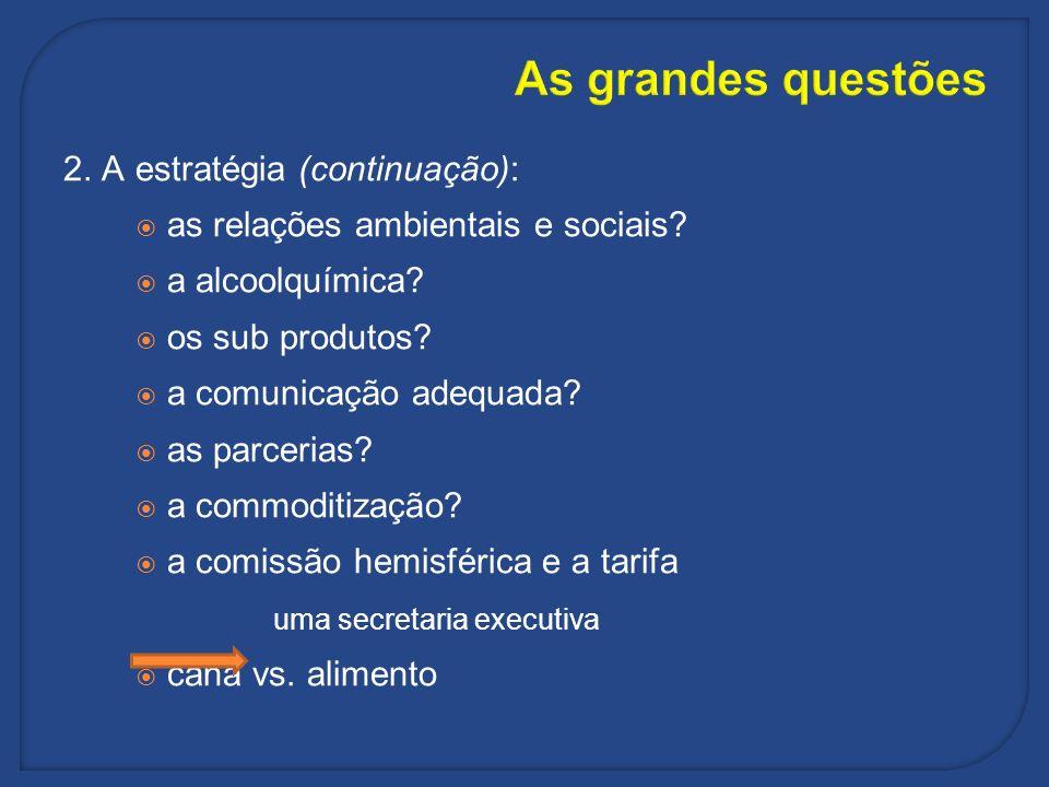 As grandes questões 2. A estratégia (continuação):
