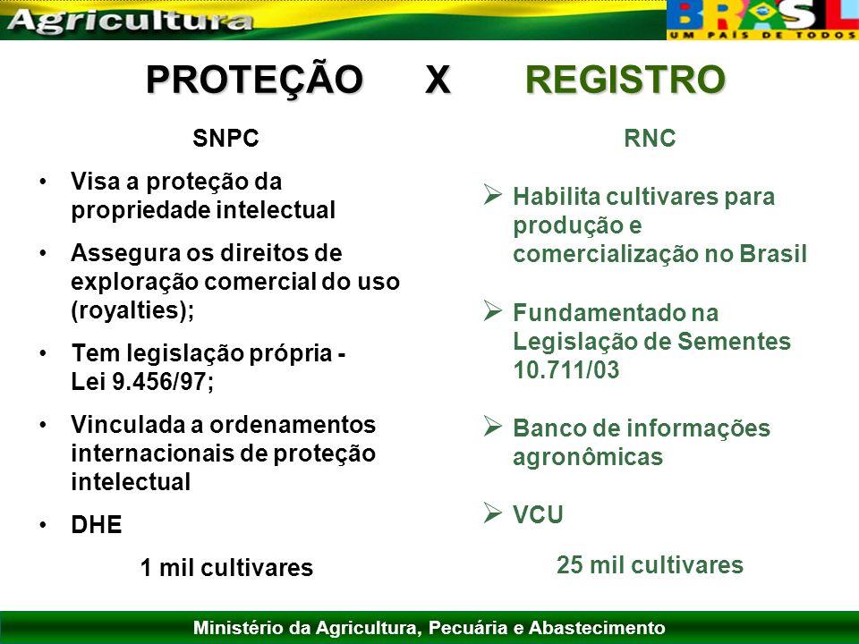 PROTEÇÃO X REGISTRO SNPC Visa a proteção da propriedade intelectual