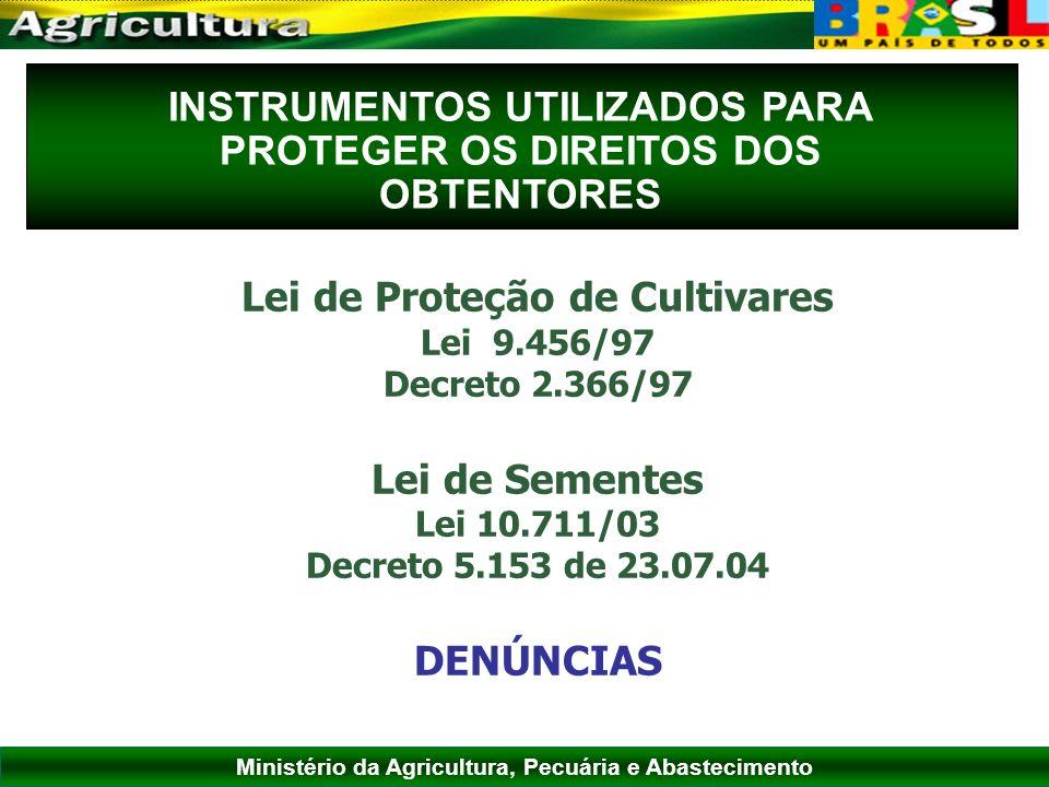 INSTRUMENTOS UTILIZADOS PARA PROTEGER OS DIREITOS DOS OBTENTORES