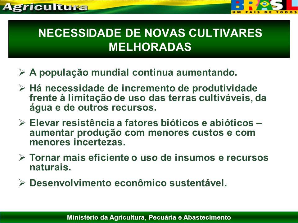 NECESSIDADE DE NOVAS CULTIVARES MELHORADAS