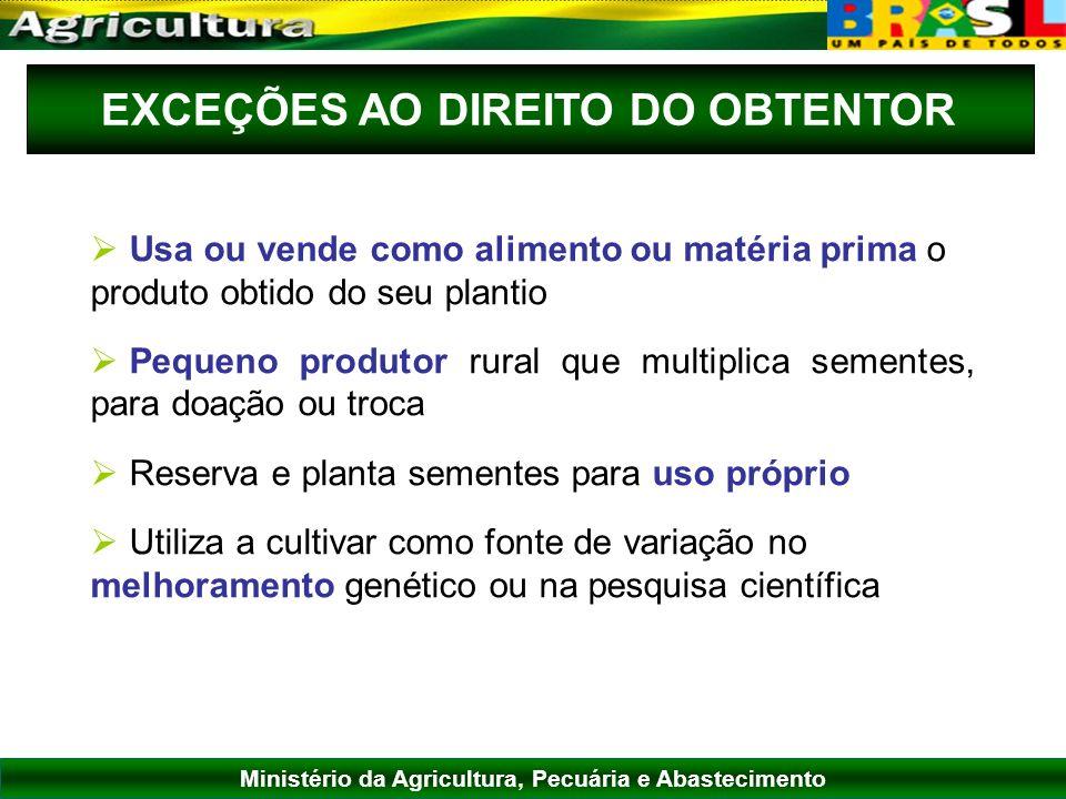 EXCEÇÕES AO DIREITO DO OBTENTOR