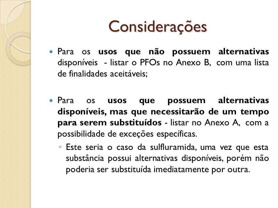 Considerações Para os usos que não possuem alternativas disponíveis - listar o PFOs no Anexo B, com uma lista de finalidades aceitáveis;