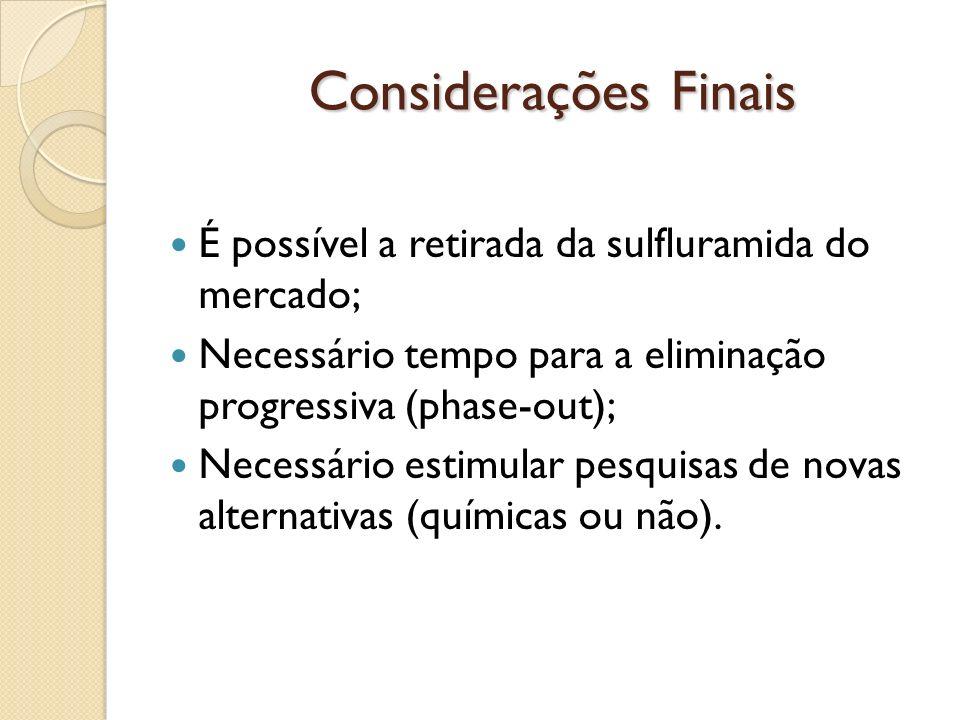 Considerações Finais É possível a retirada da sulfluramida do mercado;