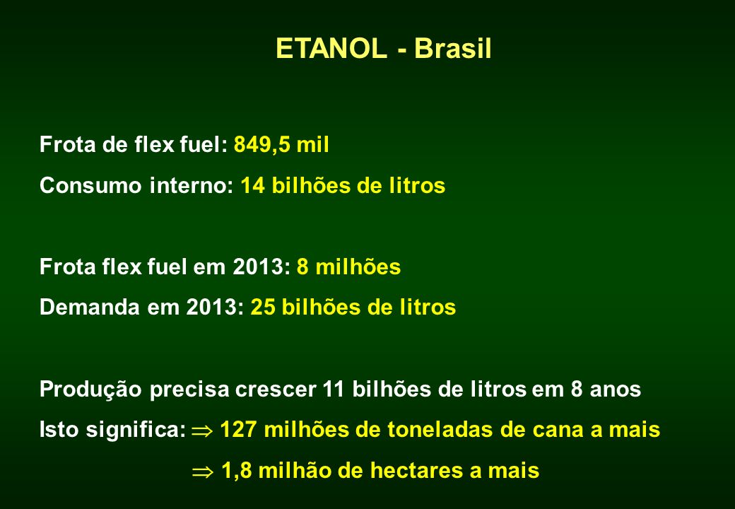 ETANOL - Brasil Frota de flex fuel: 849,5 mil
