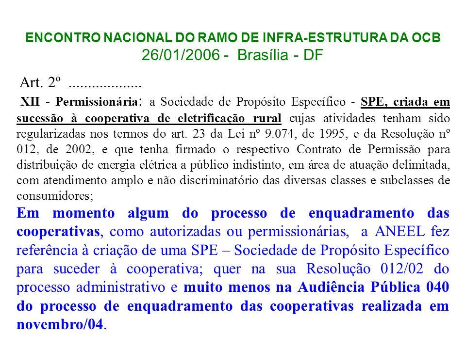 ENCONTRO NACIONAL DO RAMO DE INFRA-ESTRUTURA DA OCB
