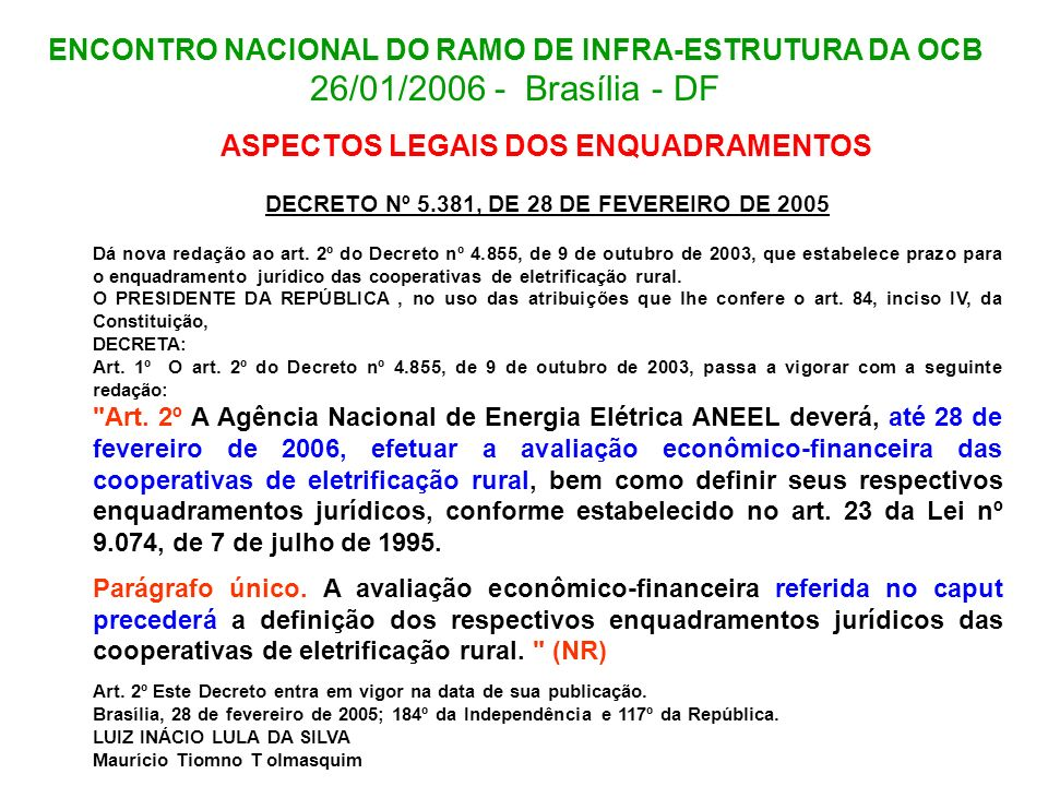 DECRETO Nº 5.381, DE 28 DE FEVEREIRO DE 2005