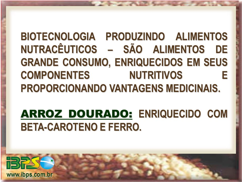 ARROZ DOURADO: ENRIQUECIDO COM BETA-CAROTENO E FERRO.