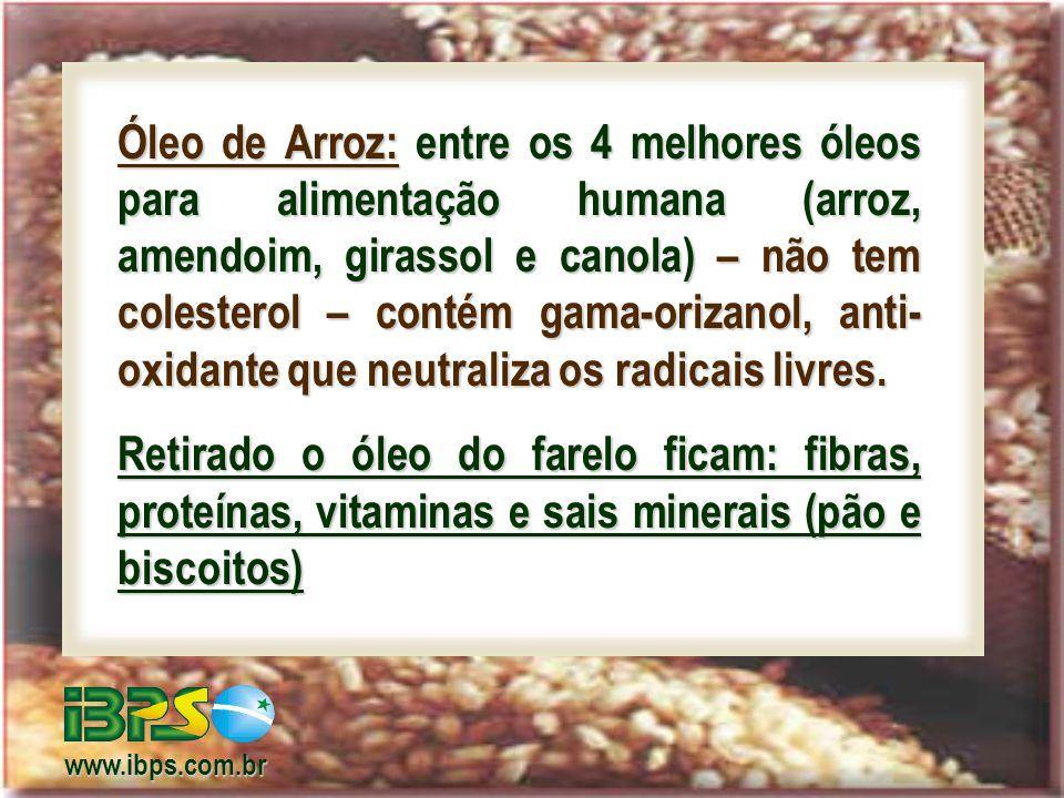 Óleo de Arroz: entre os 4 melhores óleos para alimentação humana (arroz, amendoim, girassol e canola) – não tem colesterol – contém gama-orizanol, anti-oxidante que neutraliza os radicais livres.