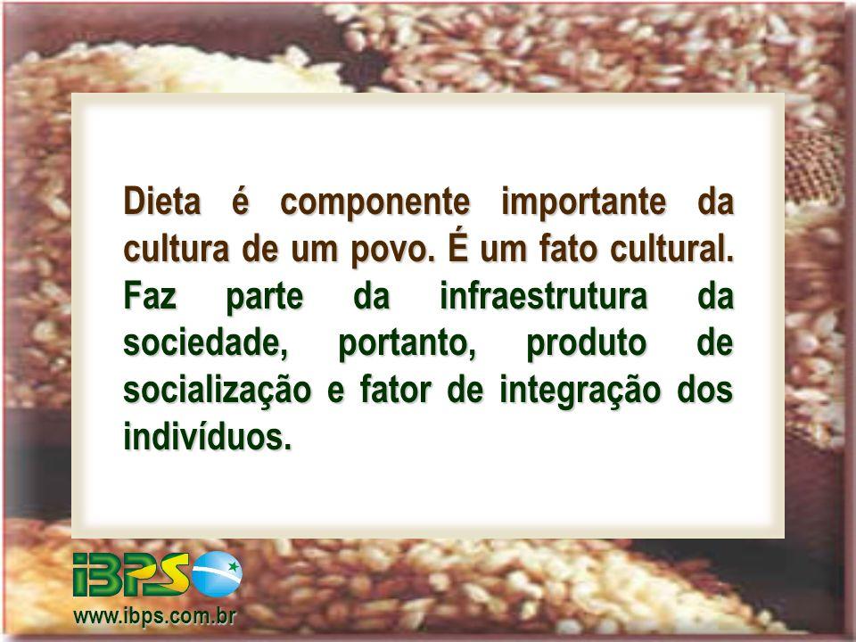 Dieta é componente importante da cultura de um povo. É um fato cultural. Faz parte da infraestrutura da sociedade, portanto, produto de socialização e fator de integração dos indivíduos.