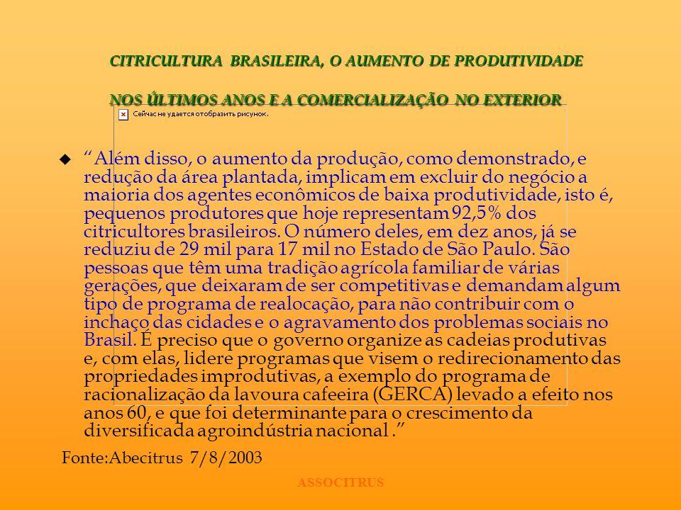 CITRICULTURA BRASILEIRA, O AUMENTO DE PRODUTIVIDADE NOS ÚLTIMOS ANOS E A COMERCIALIZAÇÃO NO EXTERIOR