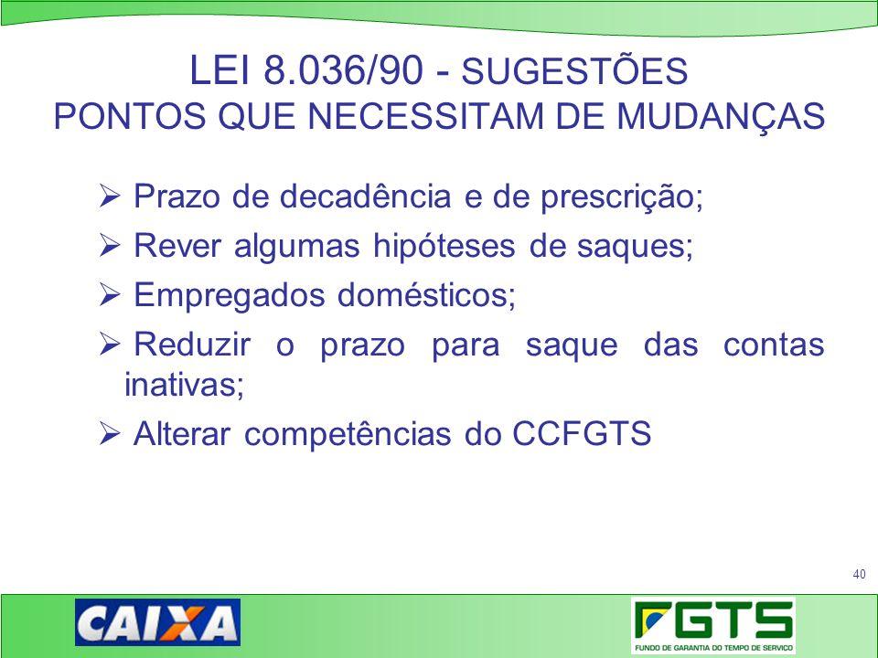 LEI 8.036/90 - SUGESTÕES PONTOS QUE NECESSITAM DE MUDANÇAS