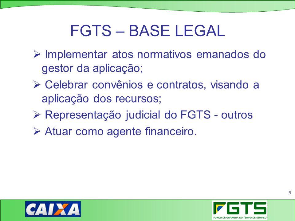 FGTS – BASE LEGAL Implementar atos normativos emanados do gestor da aplicação; Celebrar convênios e contratos, visando a aplicação dos recursos;