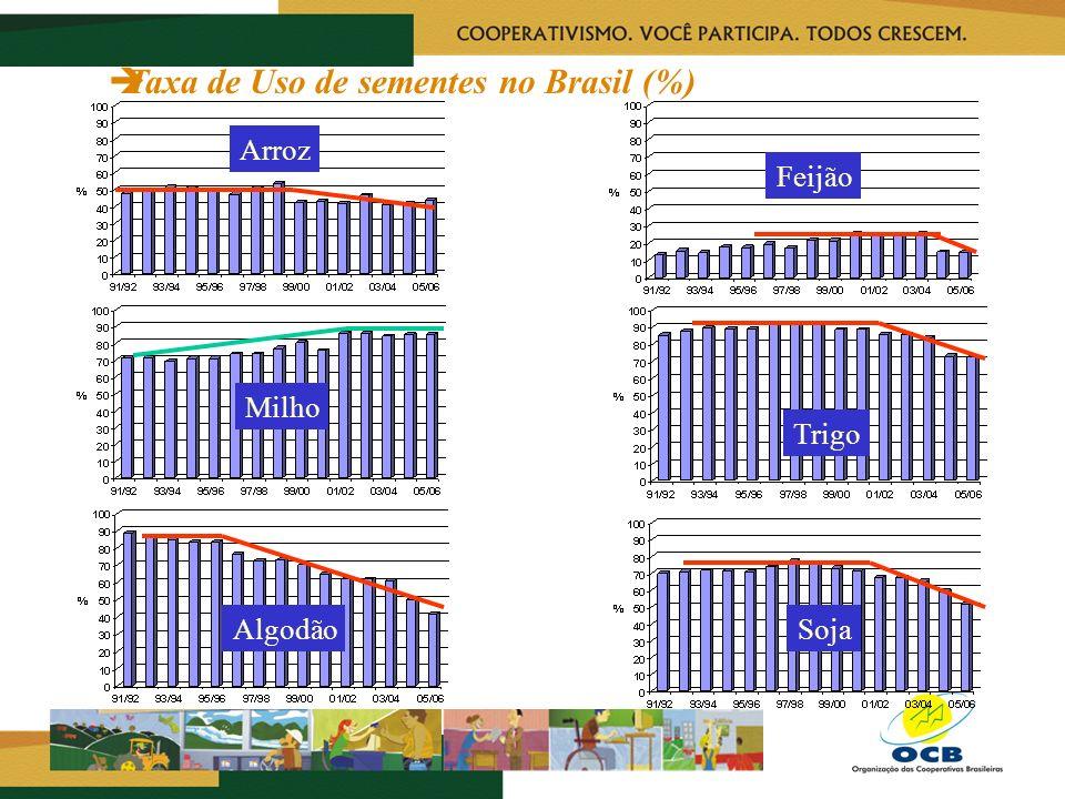 Taxa de Uso de sementes no Brasil (%)
