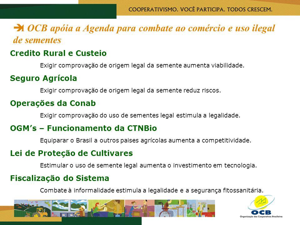 A OCB apóia a Agenda para combate ao comércio e uso ilegal de sementes