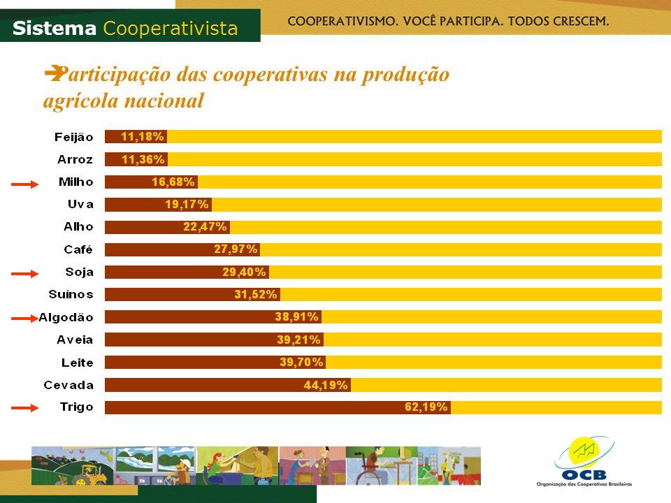 Participação das cooperativas na produção agrícola nacional