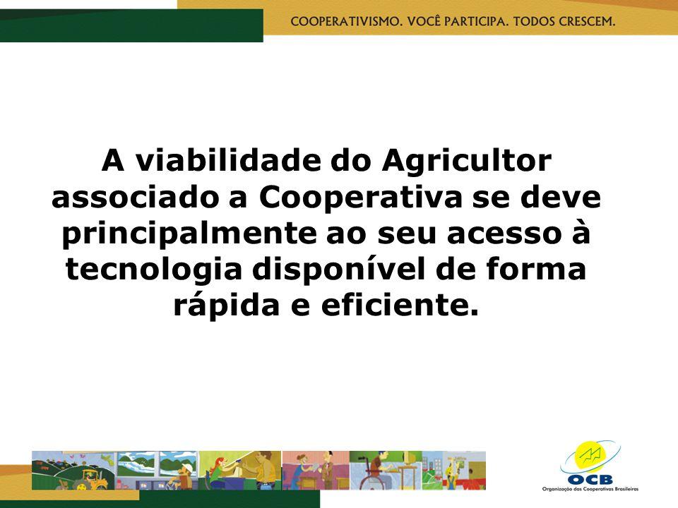 A viabilidade do Agricultor associado a Cooperativa se deve principalmente ao seu acesso à tecnologia disponível de forma rápida e eficiente.