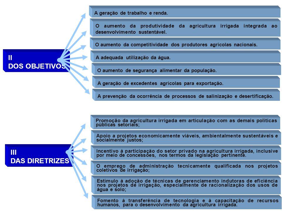 II DOS OBJETIVOS III DAS DIRETRIZES A geração de trabalho e renda.