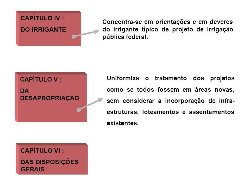 CAPÍTULO IV : DO IRRIGANTE. Concentra-se em orientações e em deveres do irrigante típico de projeto de irrigação pública federal.
