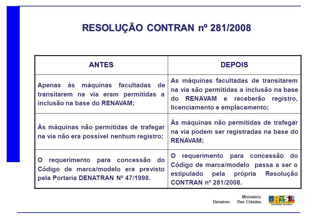 RESOLUÇÃO CONTRAN nº 281/2008 ANTES DEPOIS