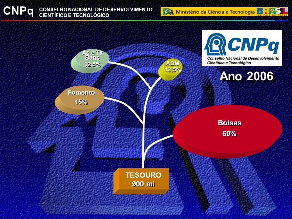 Ano 2006 Bolsas 60% TESOURO 900 mi Fomento 15% Ad e Tx Banc 12,5% ADM