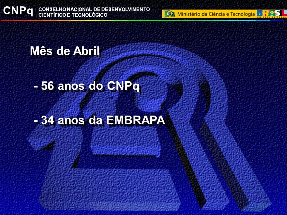 Mês de Abril - 56 anos do CNPq - 34 anos da EMBRAPA