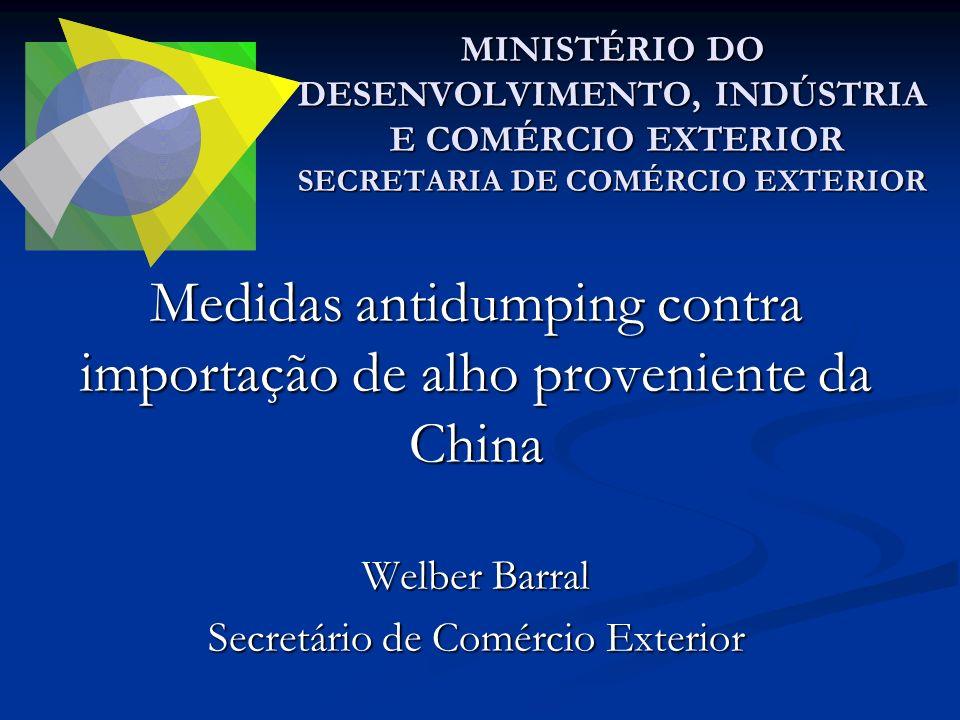 Medidas antidumping contra importação de alho proveniente da China